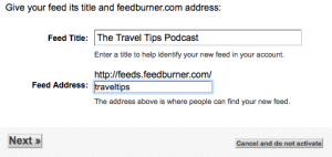 Feedburner podcast configuration title and address